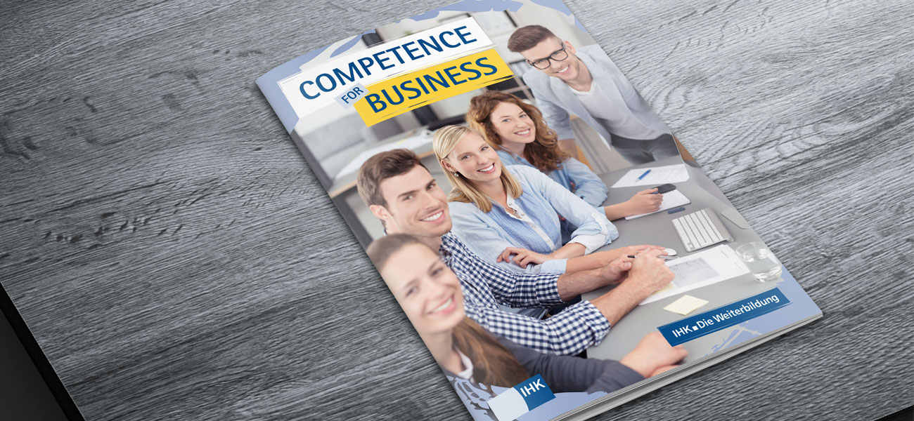 Covergestaltung der Produktbroschüre Competence for Business