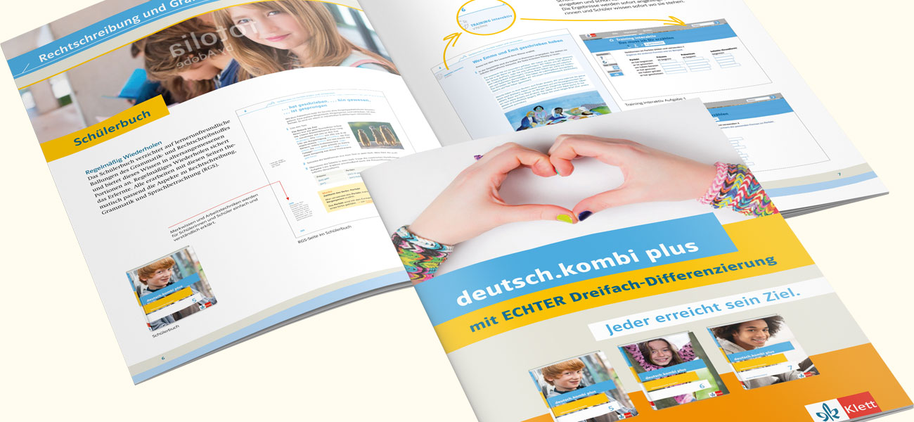 Produktbroschüren deutsch.kombi plus Umschlag und Innenlayout