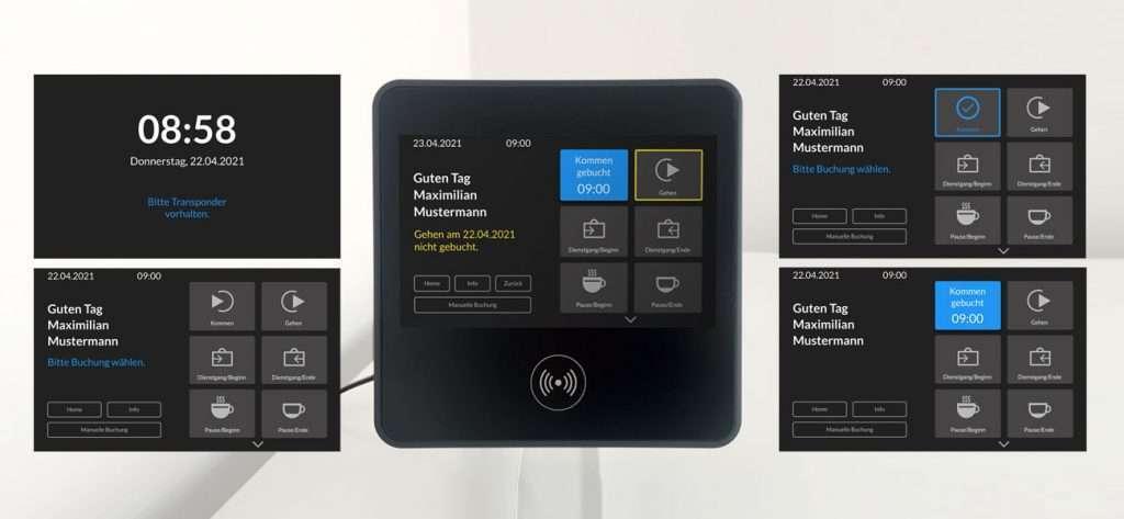 Zeiterfassungsgerät mit fünf verschiedenen Screens und Softwareoberflächen