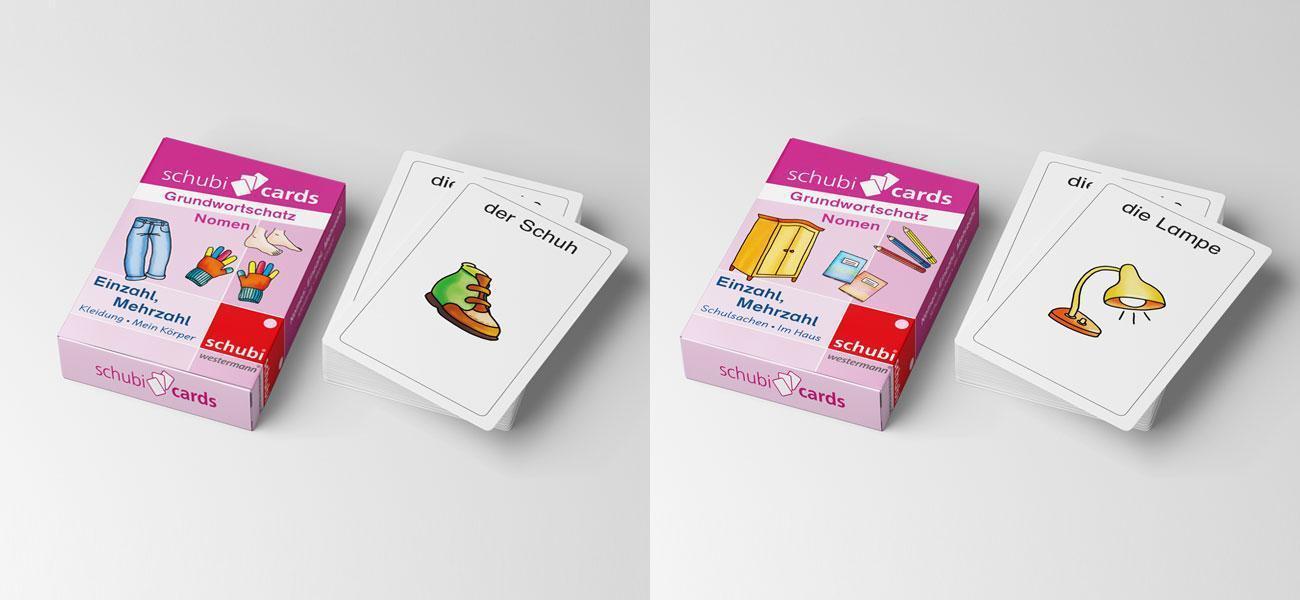 Verpackungsdesign von zwei Schubicards Kartenspielen Deutsch