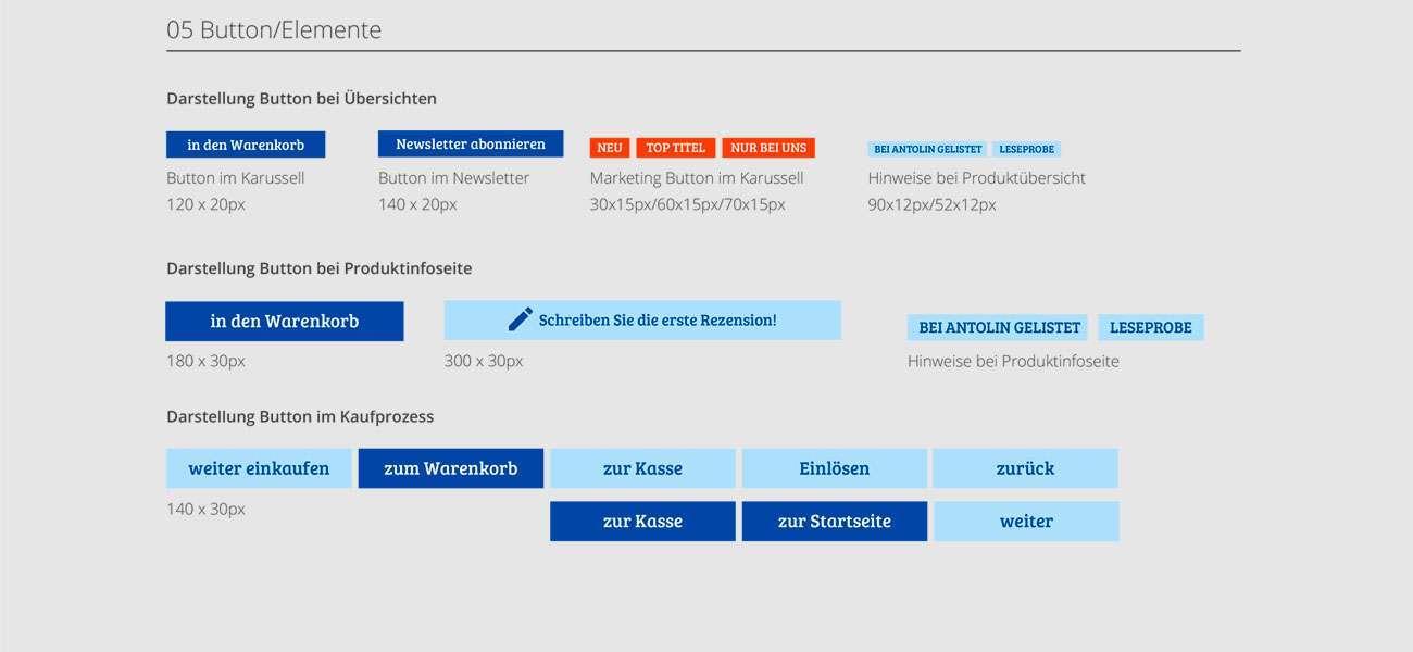 Redesign der Button für den Este Onlineshop
