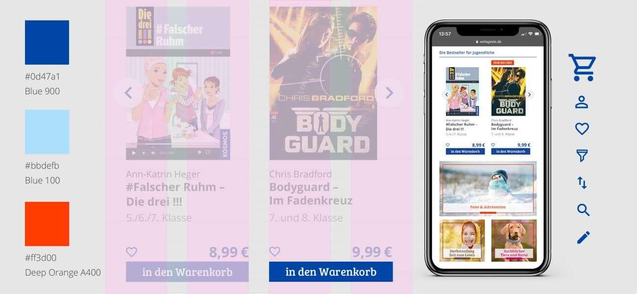 Mobile Phone mit Layoutentwicklung Icons und Farbkonzept