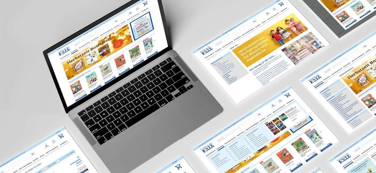 Laptop mit Screens zum Redesign des Este Onlineshops