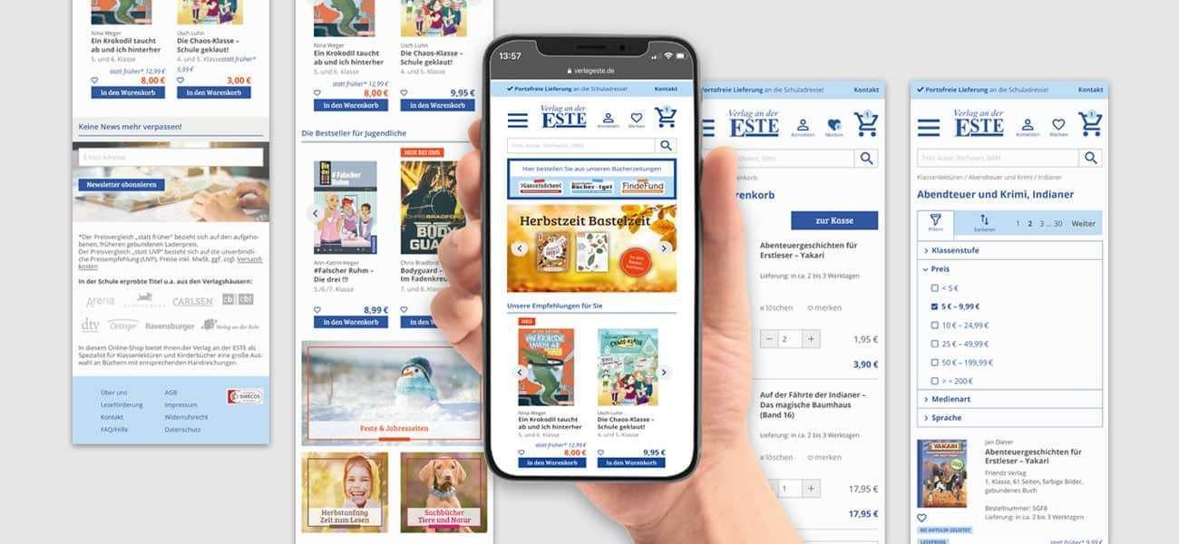 Mobile Phone mit Screens zum Redesign des Este Onlineshops